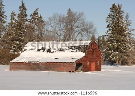 Derelict Barn on Farm in Alberta Canada - stock photo