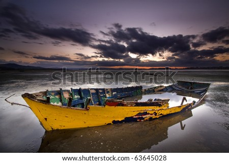 Derelict boat - stock photo