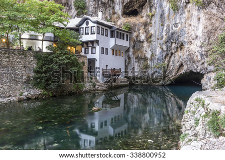 Dervish house in old town Blagaj near the Mostar, Bosnia and Herzegovina - stock photo