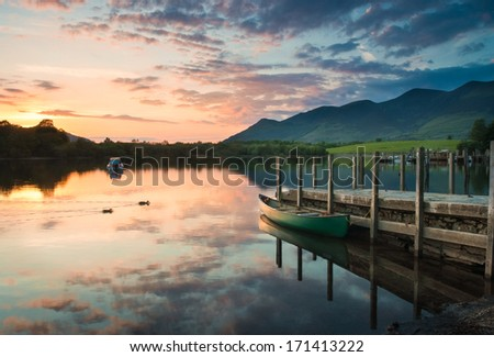 Derwent Water and dramatic mountain backdrop, Lake District, UK. - stock photo