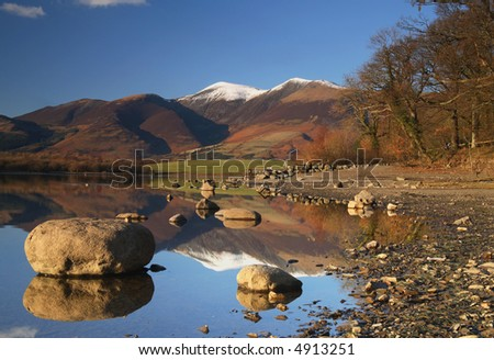 Derwent Water with mountain reflections. - stock photo