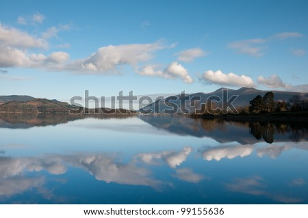 Derwent Water with mountain reflections ,Lake District ,England - stock photo