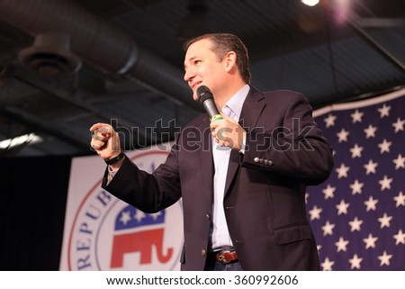 DES MOINES, IOWA-OCTOBER 31, 2015:  Ted Cruz speaks at the Republican Growth and Opportunity party in Des Moines, Iowa - stock photo