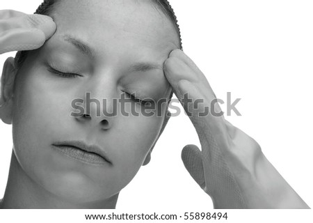 Desaturated Picture of a Cleaning Woman with a Headache - stock photo