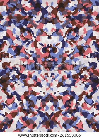 Desaturated red and blue camouflage pattern - stock photo