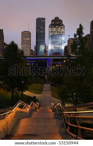 Descending stairs with path to the Houston Skyline - stock photo