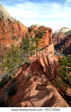 Descent from Angels Landing, Zion National Park, Utah - stock photo