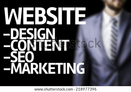 Description of a Website written on a board with a business man on background - stock photo
