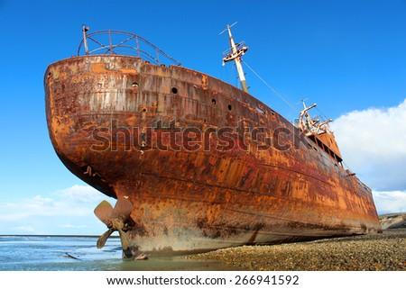Desdemona ship wreck, Tierra del Fuego - stock photo