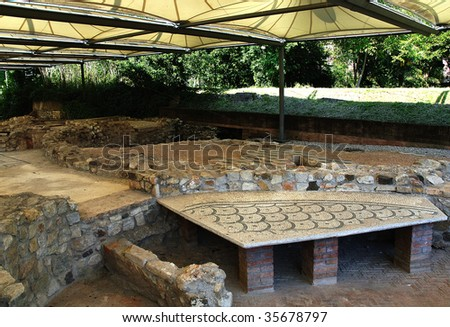 Desenzano del Garda (Bs),Lombardy,Italy, ancient Roman palace of the third century D.C.  ,  the mosaics floor - stock photo