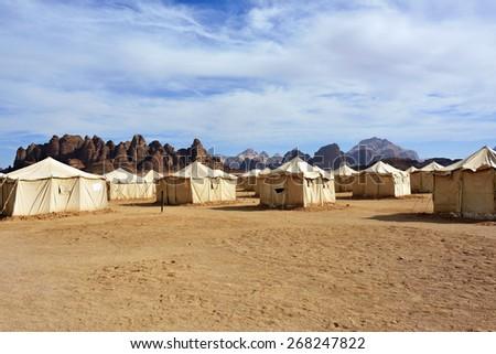 Desert camp in Wadi Rum at sunset time, Jordan - stock photo