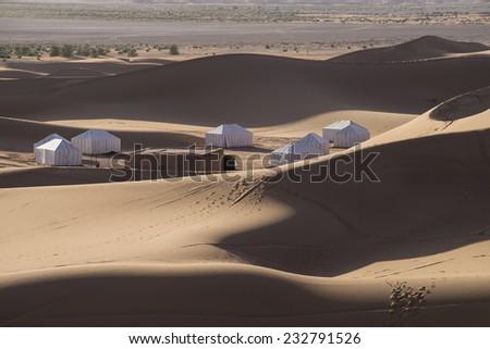 Desert Camp Sahara Morocco - stock photo