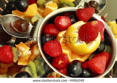Desert Delicious Fruit Salad Decoration Stockfoto Lizenzfrei