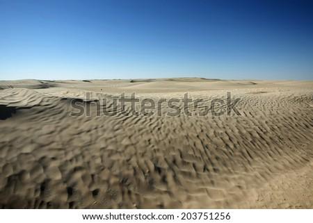 Desert dunes of Sahara at the gateway to the Sahara near the town Douz. - stock photo