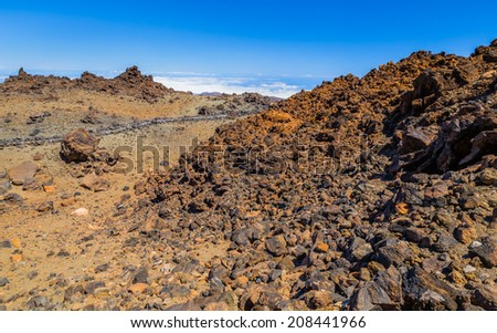 Desert formed by volcanic rocks at the top of the Teide volcano. - stock photo