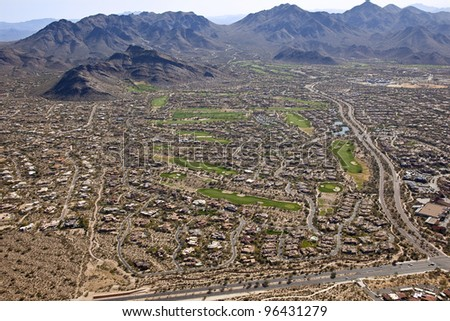 Desert Golf Course meets the McDowell Mountains - stock photo