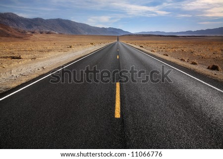 Desert Highway, Death Valley National Park, California - stock photo