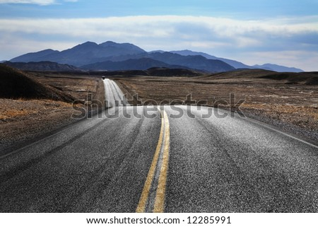 Desert Highway, Death Valley National Park, California - stock photo