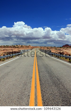 Desert highway in the american southwest.