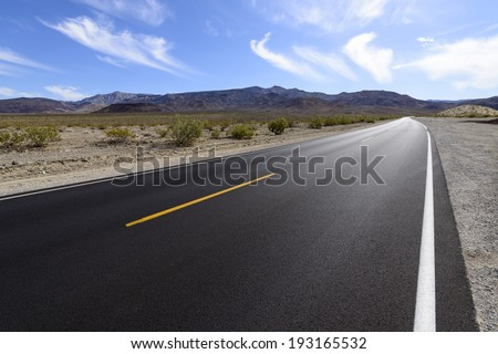 Desert Highway in the Death Valley National Park, California, USA.