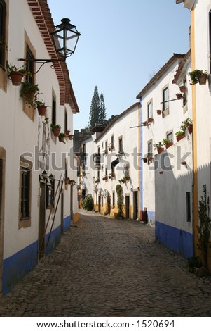 Desert Historical Street in Obidos - stock photo