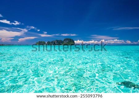 Desert Island Sunny Waters  - stock photo