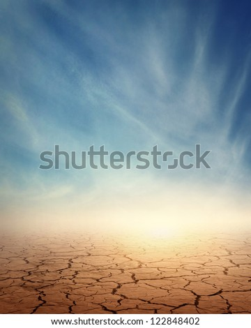 Desert landscape background global warming concept - stock photo