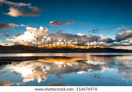 Desert Landscape near Moriri Lake - stock photo