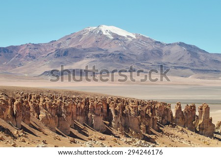 Desert landscape on the way to Salar de Tara, El Loa province, Chile - stock photo