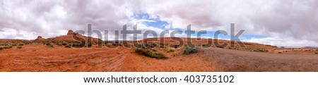 Desert landscape panorama featuring red rock formations. Location: Arizona, USA - stock photo