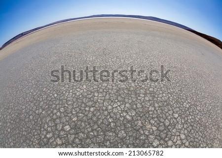 desert landscape photographed on a Fisheye lens - stock photo