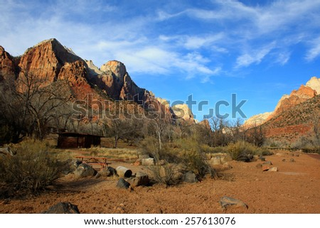 Desert landscape with blue skies in Zion National Park, Utah, USA [United States of America]