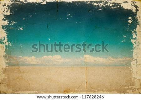 Desert landscape with deep blue sky and clouds - stock photo