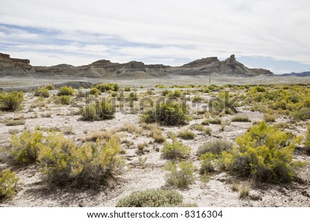 Desert lanscape in fromt of Henry Mountains near Hanksville, Utah, USA - stock photo