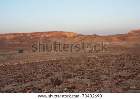Desert mountains in a twilight - stock photo