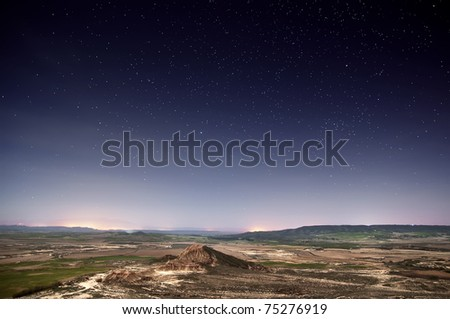 Desert of Bardenas at night - stock photo