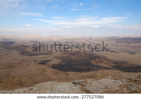 Desert of Ramon Crater - stock photo