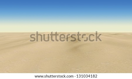 desert on a background of blue sky - stock photo