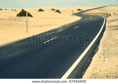 Desert Road.Fuerteventura.canary islands - stock photo
