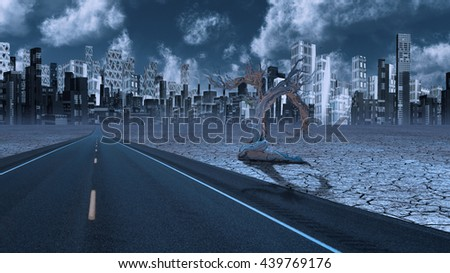 Desert Road leads to city 3D Render - stock photo
