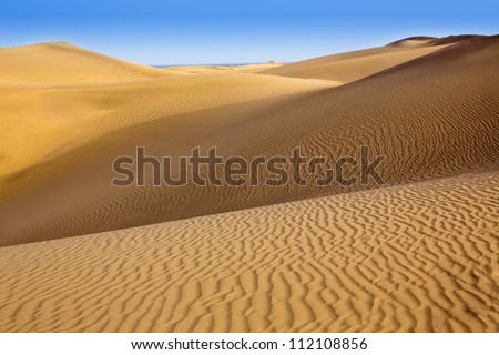 Desert sand dunes in Maspalomas Oasis Gran Canaria at Canary islands - stock photo