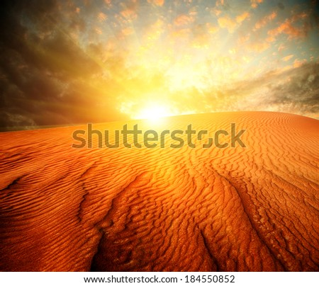 Desert. Sand Landscape with Sun - stock photo