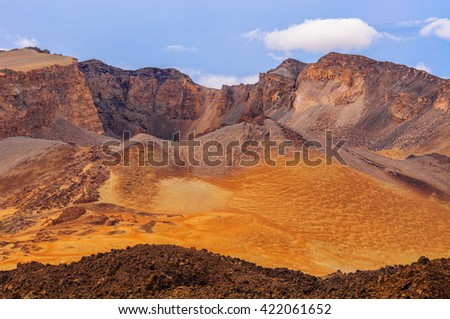 Desert sands of Teide volcano in Tenerife, Spain.