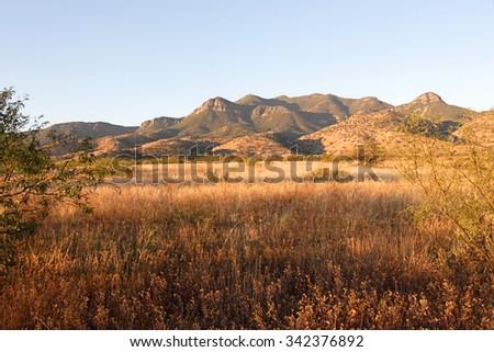 Desert scene on Fort Huachuca Military base in southern Arizona - stock photo