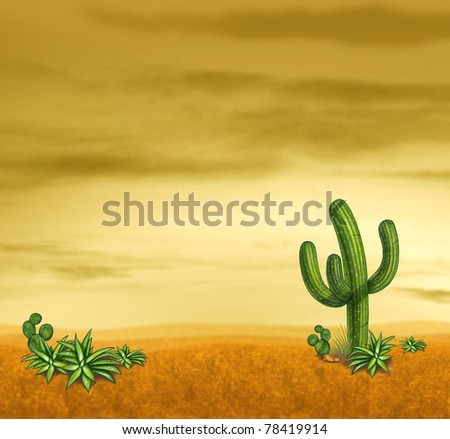 Desert sky with cactus plants in a sunset landscape with yellow sky and sand.