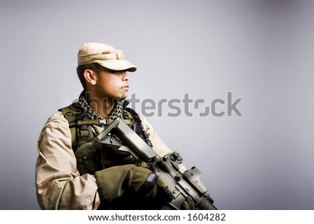 desert storm soldier in the army dressed in camo side view - stock photo