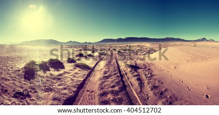 Desert sunset scenery landscape.Adventure and travel concept.Vintage and retro style.Scenic desert landscape.travel lifestyle - stock photo