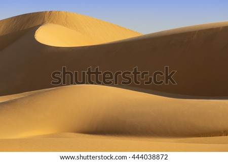 Desert under the blue sky Tourism and active recreation in the Emirates. - stock photo