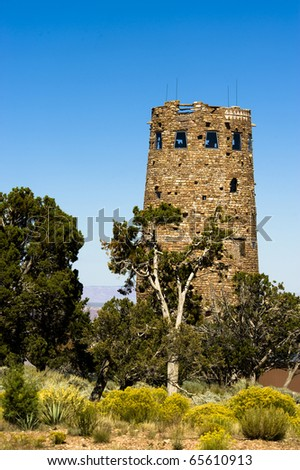 Desert view lookout is on the south rim canyon road and is and overlooks the grand canyon. - stock photo