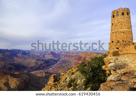 desert view watchtower in Grand Canyon National Park with landscape view